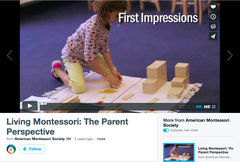 The Parent perspective of a child living in a montessori environment